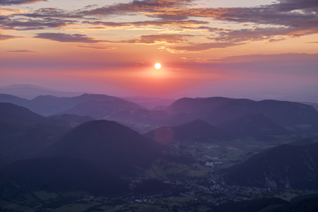 Austria, Lower Austria, Vienna Alps, View from Schneeberg to Puchberg am Schneeberg at sunrise