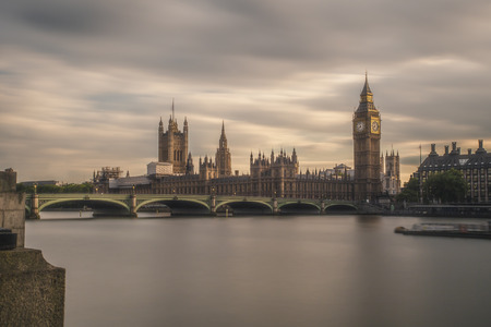 urban idyll: UK, London, view to Westminster Bridge and Palace of Westminster with Big Ben, long exposure