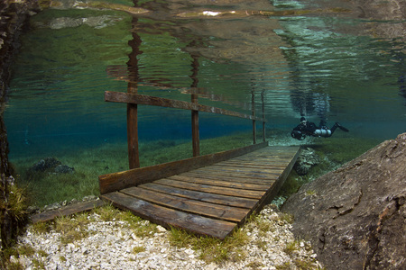 steiermark: Austria, Styria, Tragoess, lake Gruener See, diver and flooded bridge