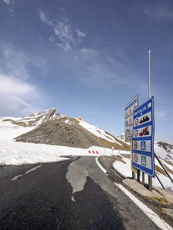 mountaintops: Italy, Piemont, Col Agnel, closed mountain pass in winter