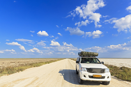 off piste: Namibia, Etosha National Park, off-road vehicle with roof tent parking at Fishers Pan