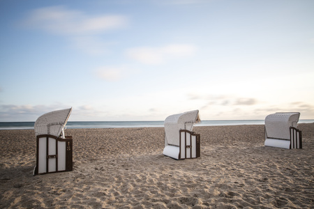 conformance: Germany, Mecklenburg-Western Pomerania, Warnemuende, beach chairs on a beach LANG_EVOIMAGES