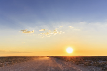 off piste: Namibia, Etosha National Park, off-road vehicle driving on gravel road by sunset