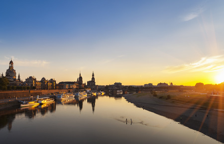 dresden: Germany, Saxony, Dresden, historic old town and Elbe river at sunset
