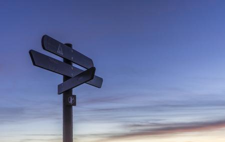 brocken: Germany, Saxony-Anhalt, Harz National Park, sign posts at Brocken in the evening