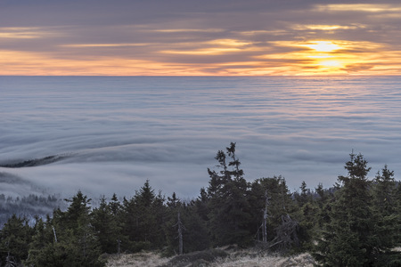 inversion: Germany, Saxony-Anhalt, Harz National Park, atmospheric inversion at Brocken in the morning