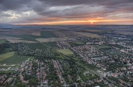 residential area: Germany, aerial view of Halberstadt at evening twilight