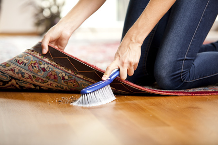 cruddy: Woman sweeping under the carpet