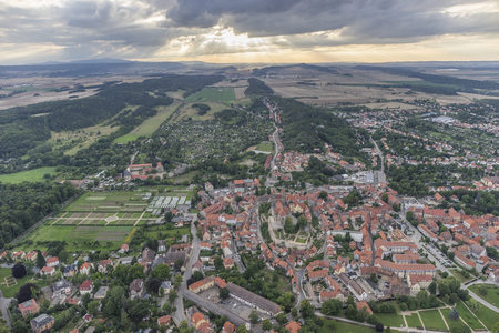 Germany, aerial view of Quedlinburg with collegiate church in the evening LANG_EVOIMAGES
