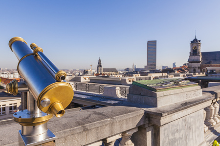 Belgium, Brussels, View from Place Poelaert, Telecsope on viewing platform