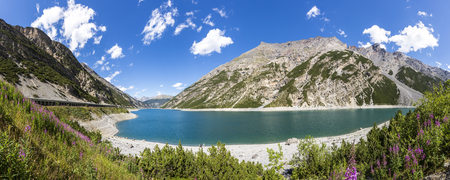 panoramas: Italy, Lombardy, Province of Sondrio, Livigno, artificial lake, Lago del Gallo