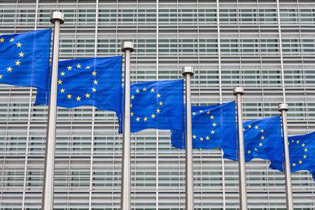 conformance: Belgium, Brussels, European Commission, European flags at Berlaymont building