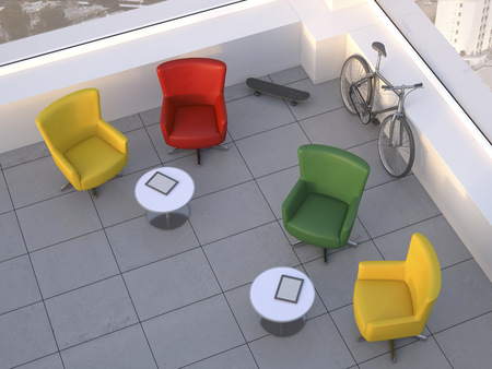 Modern meeting room with four swivel chairs, skateboard and mountain bike, 3D Rendering LANG_EVOIMAGES