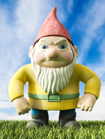 disgusted: Angry garden gnome, 3D Rendering