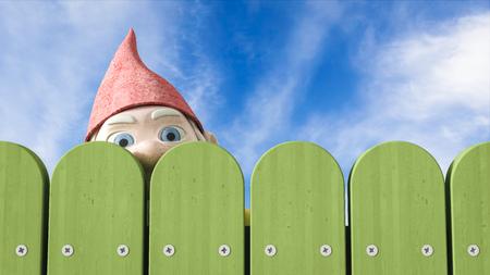 Garden gnome peeking over a green fence, 3D Rendering