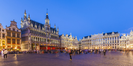 old town guildhall: Belgium, Brussels, Grand Place, Grote Markt, Maison du Roi in the evening