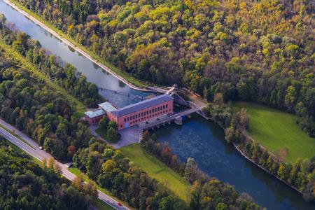 Germany, Bavaria, Landshut, Isar river, hydro plant Uppenborn, aerial view