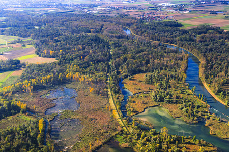 alluvial: Germany, Bavaria, Deggendorf, Danube river, Isar river mouth, alluvial forest, aerial view