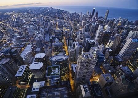 USA, Illinois, Chicago, View from Willis Tower in the evening