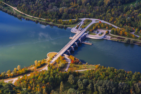 Germany, Bavaria, Isar river, Zulling, hydro plant, aerial view