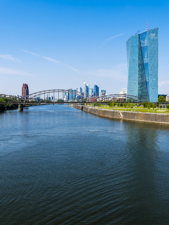 riverbank: Germany, Frankfurt, European Central Bank at on River Main LANG_EVOIMAGES