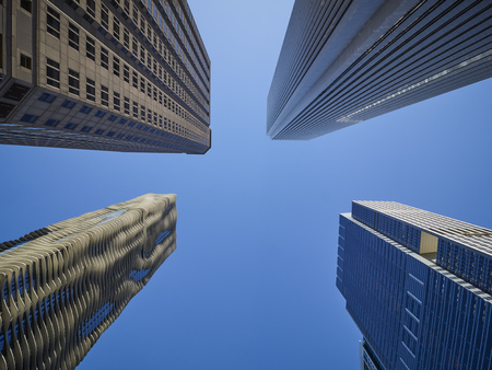 USA, Illinois, Chicago, High-rise buildings, Aqua Tower, Aon Center from below