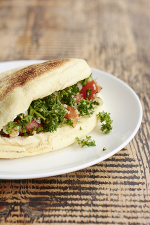 Bazlama, turkish flatbread with parsley tabbouleh salad