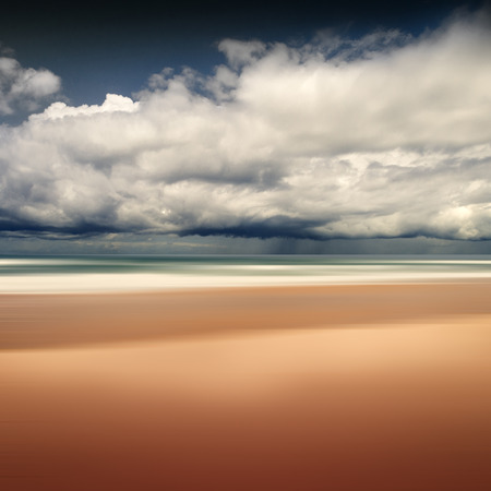 France, Contis-Plage, Beach and rain clouds LANG_EVOIMAGES