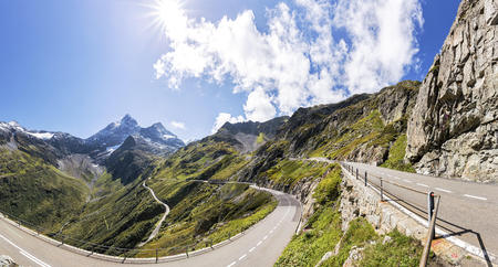 panoramas: Switzerland, Uri Alps, Susten Pass, Mountain road, Panorama