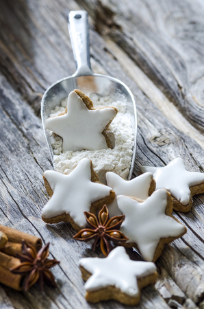 Home-baked cinnamon stars, shovel of flour and spices on wood LANG_EVOIMAGES