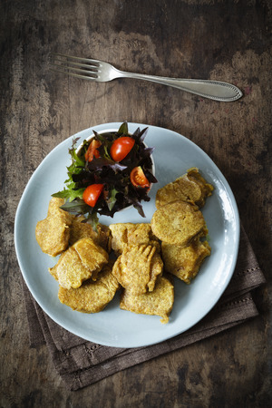 Vegetable fritter on plate LANG_EVOIMAGES