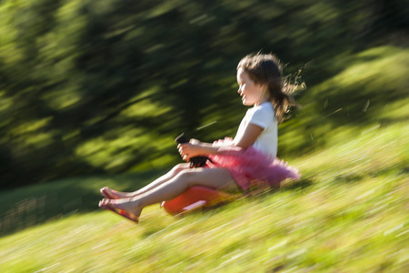 bobsled: Little girl driving bobsleigh downhill on a meadow LANG_EVOIMAGES