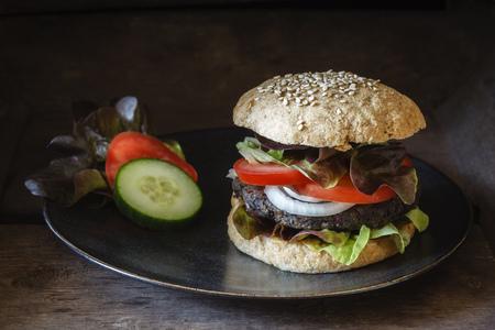 Homemade veggie burger, mushroom lentil fritter