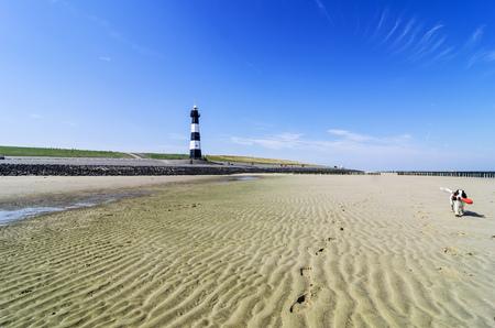 Netherlands, Breskens, Lighthouse at beach LANG_EVOIMAGES