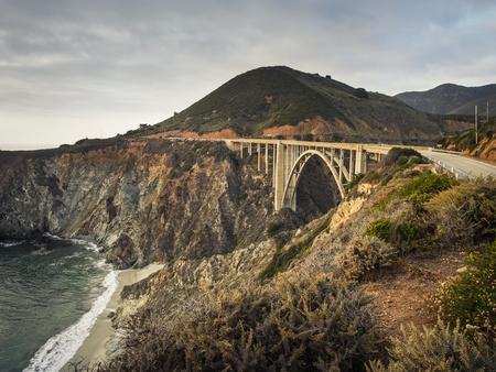 USA, California, Pacific Coast, National Scenic Byway, Big Sur, Bixby Bridge at sunset