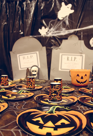 morbidity: Laid table for a Halloween party