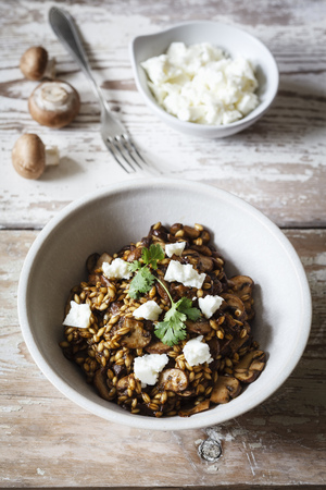 Barley risotto with champignon, feta cheese and coriander