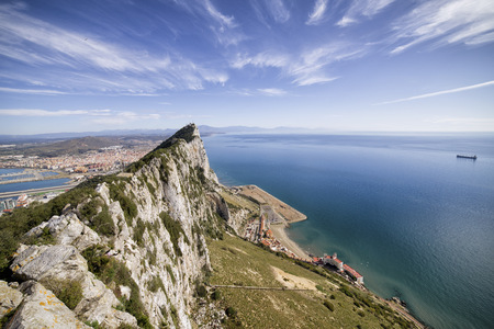 Gibraltar, View from rock to Mediterranean Sea LANG_EVOIMAGES