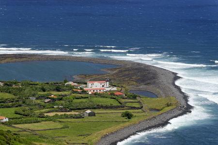 Portugal, Azores, Sao Jorge, Coast and Lagoa da Faja da Caldeira de Santo Cristo
