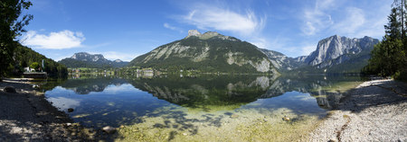 Austria, Styria, Altaussee, lake with Trisselwand at Totes Gebirge