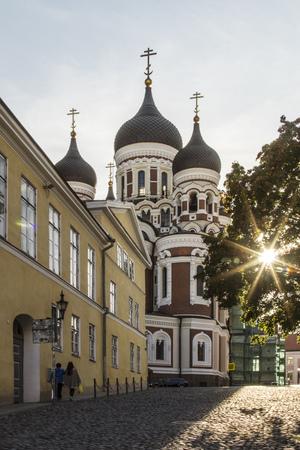 Estonia, Tallinn, Beggar woman on the steps ofal