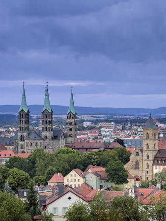 Germany, Bavaria, Bamberg, View to Bamberg Cathedral at twilight