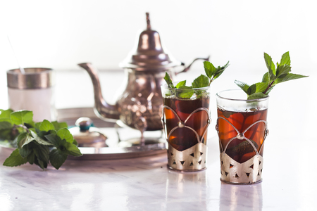 Traditional North African nana mint tea