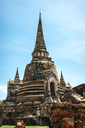 Thailand, Ayutthaya, view to temple Wat Phra Si Sanphet
