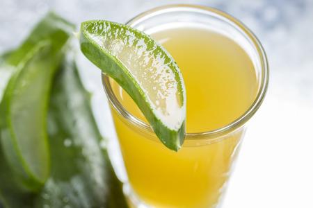 Sliced Aloe Vera on top of a glass