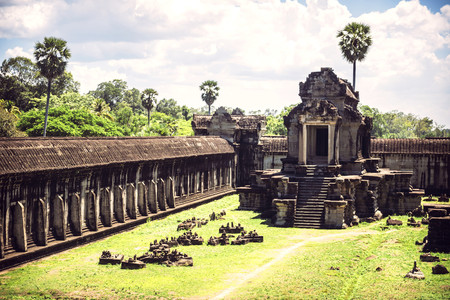 Cambodia, Siem Reap, view to temple of Angkor Wat