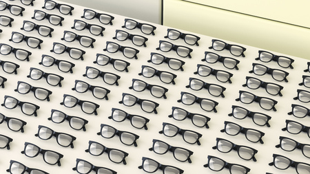 conformance: Rows of black glasses on a table