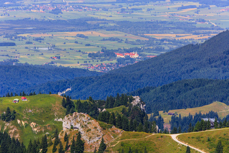 physical geography: Germany, Bavaria, Brauneck mountain and Benediktbeuern monastery LANG_EVOIMAGES