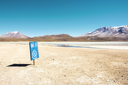 secluded: Bolivia, Potosi, Wi Fi sign in deserted landscape of the Bolivian Altiplano