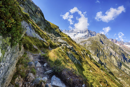 Switzerland, Canton of Uri, Goeschenen, Goescheneralp, Moosstock with Dammastock glacier
